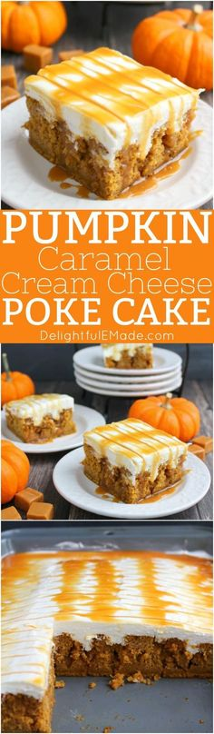 The ultimate fall dessert! & pumpkin poke cake is drizzled with caramel sauce, frosted with a fluffy cream cheese frosting and topped with even more caramel sauce! & love every single morsel of this uber moist, delicious pumpkin cake! 13 Desserts, Holiday Desserts, Delicious Desserts, Yummy Food, Thanksgiving Desserts, Fall Dessert Recipes, Pudding Desserts, Christmas Sweets, Fall Recipes