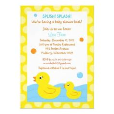 Shop Rubber Ducky Duck Neutral Baby Shower Invitations Created By  PoshPartyPrints.