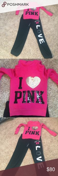 Rare bling set Gorgeous bling outfit hoodie XS pants large super cute set PINK Victoria's Secret Tops Sweatshirts & Hoodies