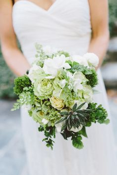 green + white bouquet with succulents + ferns | Jim Trice #wedding