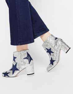 ASOS REWARD Ankle Boots- super cool silver and navy blue glitter / glittery shoes! So cool for winter and parties. They add a little dazzle dazzle to your day and the stars and just magical!!!!!  Asos star print boots never looked so good!!!