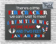 Are you looking for a great way to share with your friends and family the exciting news of expecting a baby? This cute 4th of July themed chalkboard printable not only makes a great photo prop and / or card but its also perfect to upload onto social media sites to make your big announcement!  ♥♥♥ You can find this same design personalized with a last name and due date here: ♥♥♥  ♥♥♥ This is a printable digital file - NO PHYSICAL PRODUCT WILL BE SENT ♥♥♥  You will receive a digital file ...