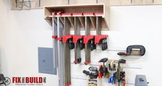 Make this Space Saving Parallel Clamp Storage Rack for your shop. This design will save tons of wall space and keep your clamps nice and tidy! - My Easy Woodworking Plans Workshop Storage, Workshop Organization, Home Workshop, Garage Workshop, Tool Storage, Garage Storage, Storage Rack, Storage Spaces, Storage Ideas