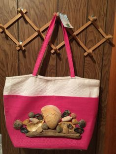 Beach Bag Shell Designer Hot Pink And White Canvas New With Zipper  #unknown