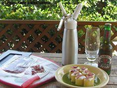 mezzi paccheri con crema di zucchine, spuma di mozzarella di bufala campana Dop e Jamòn