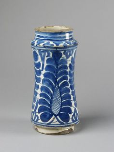 Drug jar      Place of origin:      Catalonia, Spain (made)     Date:      1450-1500 (made)     Artist/Maker:      Unknown (production)     Materials and Techniques:      Tin-glazed earthenware     Museum number:      C.79-1911