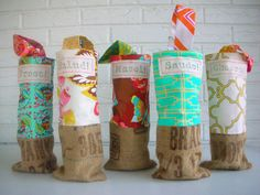 Burlap Wine Totes - International Toasts - Bridesmaid Gifts - Beach Wedding Favors - Vibrant Colors - CHOOSE: Prost Salud Mazel Saude Cheers on Etsy, $18.00