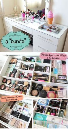 Diy organization bedroom desk mirror Ideas for 2019 Diy Makeup Mirror, Diy Vanity Mirror, Vanity Decor, Ikea Makeup, Mirror Room, Bedroom Organization Diy, Makeup Organization, Bedroom Storage, Make Up Organization Ideas
