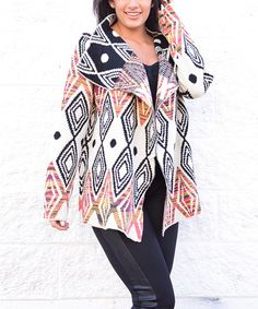 45e18b076a Another great find on  zulily! White  amp  Navy Diamond Drape Cardigan by  Simply