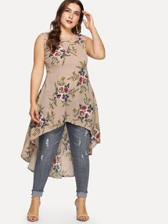 Floral printed sleeveless dress -shein(sheinside) plus size clothes in 2019 Plus Size Summer Fashion, Plus Size Fashion For Women, Plus Size Womens Clothing, Clothes For Women, Plus Size Gowns, Plus Size Outfits, Curvy Girl Fashion, Look Fashion, Dress For Chubby Ladies