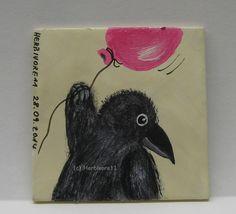 UND TSCHÜSS von Herbivore11 Minibild Rabe Raben Luftballon Raven Crow Kinderbild