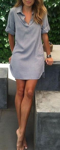 Grey Tunic Dress Source The post 45 Trending Summer Outfits You'll Want To Earn appeared first on Woman Casual - Woman Dresses The Beautiful Casual Dresses, Casual Summer Dresses, Trendy Dresses, Women's Dresses, Dress Outfits, Casual Outfits, Fashion Outfits, Dress Casual, Trendy Fashion