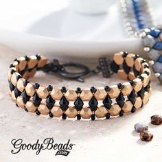 GoodyBead | Blog: Bronze Czech honeycomb jewel bracelet with Black DiamonDuos and size 8/0 Miyuki seed beads.