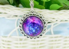For Sale: #1 Colorful Galaxy and Planet Glass round Pendant silver plating Necklace - #1 Colorful Galaxy and Planet Glass round Pendant silver plating Necklace. New in pkg. 4.00 (cross posted)