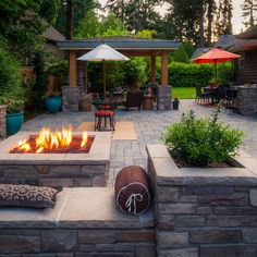 leben unter freiem himmel Front and back this landscape is filled with outdoor spaces to satisfy all ages - Dougherty @ Stone Patio Designs, Outdoor Patio Designs, Small Backyard Patio, Fire Pit Backyard, Backyard Landscaping, Outdoor Spaces, Backyard Ideas, Patio Plans, Decoration