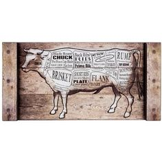 With the Butcher's Cow Chart, you will know where every part of delicious beef hails from! Brandishing synthetic wood grain, this decor piece features a diagram of a cow sectioned into delicious categories by cut and type of meat.