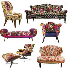 Colored upholstered vintage furniture | Recyclart