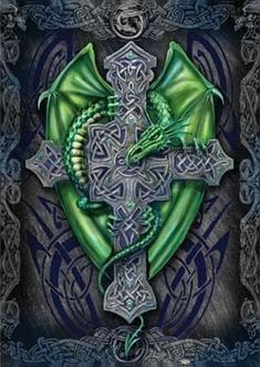 Celtic Dragon Cross Design Picture