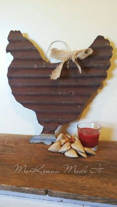 Barn Tin Chicken Cut-Out! Chicken Sign Wall Hanging Rusty Barn Tin Chicken Rooster Sign Farm Decor R