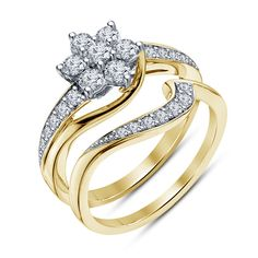 14k Yellow Gold Over 925 Silver White Sim.Diamond Flower Style Bridal Ring Set