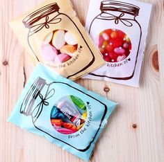 100pcs 3-color for choice Beautiful Jar self adhesive seal bags cello bag for cookie candy chocolate packing