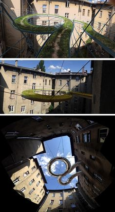 Zalewski Architecture Group have designed a concept for a walk-on balcony that is suspended above the center courtyard of a building in Gliwice, Poland.