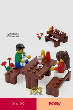 Picnic Table - With park bench, flowers, glasses + Croissant Lego Dog, Lego Humor, Lego Halloween, Lego Furniture, Lego Activities, Lego Table, Lego Construction, Lego For Kids, Lego Modular