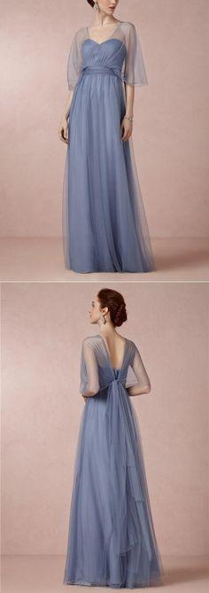 Tulle Sweet Heart Floor-Length Bridesmaid Dress #okbridal