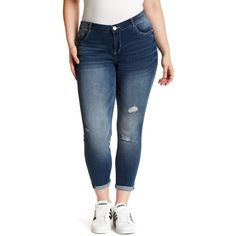 Jolt Deconstructed Jean (Plus Size) ($35) ❤ liked on Polyvore featuring plus size women's fashion, plus size clothing, plus size jeans, plus size, zip jeans, frayed jeans, zipper jeans and women's plus size jeans