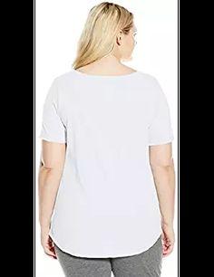 8a7f44b7a Just My Size Just My Size Women s Plus-Size Solid Split Neck Shirttail Hem  Tee from  1.96