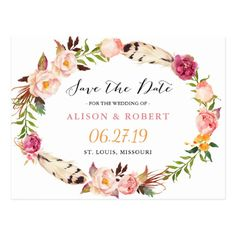Bohemian Feather Boho Floral Wreath Save the Date Postcard