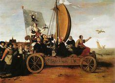 Hendrick Cornelisz. Pot (1585-1657) Flora's Mallewagen, 1637 door Hendrick Gerritsz Pot. In 1637 schilderde Hendrick Cornelisz. Pot 1585-1657 de kleine zeilwagen. Flora, de bloemgodin, zit samen met drie mannen - die drinken en geld wegen - en vrouwen op de mallewagen.