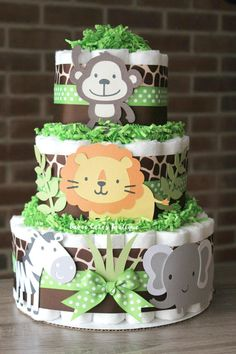 3 Tier Jungle Diaper cake Green Giraffe Print Safari Diaper