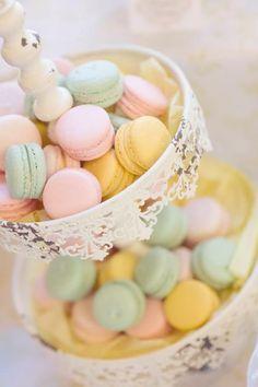 Beautiful wedding macaron tower in pastel tones.