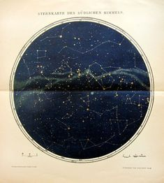 1895 Antique constellation sky chart color lithograph of  Southern Hemisphere, original  vintage star map astronomy print, celestial cosmos.