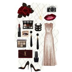 A fashion look from November 2014 featuring BCBGMAXAZRIA gowns, Christian Louboutin pumps and Yves Saint Laurent clutches. Browse and shop related looks.