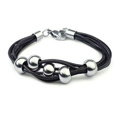 Top Value Jewelry - Unisex Black Leather Multi Strand Bracelet with Silver Beads Top Value Jewelry. $19.99. Unique Leather Multi Strand Design that is the Perfect Style for Male or Female. Contemporary and versatile piece for Anyone. Great Gift for Men and Women. Black Leather Multi Strand Bracelet with Silver Beading. Save 92% Off!
