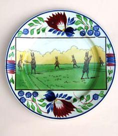Stick Spatter Rabbits Playing Baseball Plate »  Circa 1905: