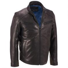 Wilsons Leather Stand Up Collar Leather Jacket w/ Quilted Lower Back Motorbike Jackets, Mens Fashion, Leather Jackets, Men's Style, Moda Masculina, Male Style, Man Fashion, Manish Style, Style Men