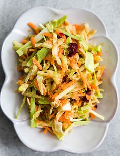 Broccoli slaw! a coleslaw made with broccoli stems, cabbage, and carrots, with a tangy cranberry orange dressing.