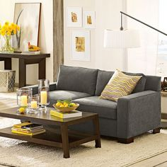 Gray Sofa With Yellow Accents