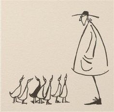 """Getting All His Ducks In A Row. Sam Toft (I want a tattoo that has all my """"ducks in a row"""", something like this maybe minus the guy on the right? Drawing Sketches, Art Drawings, Sketching, Arte Sketchbook, Art Inspo, Painting & Drawing, Line Art, Illustrators, Cool Art"""