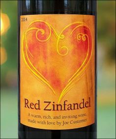 Romantic Heart Custom Wine Label