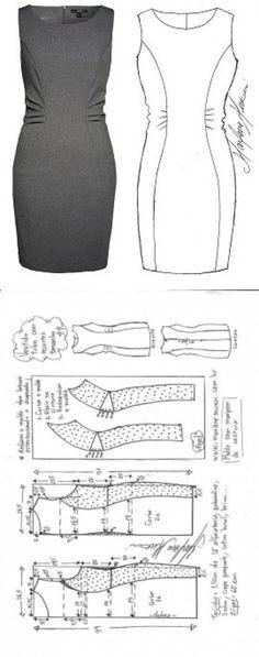 Шитье простые выкройки Vestido tubinho com recorte drapeado na lateral Sewing Dress, Dress Sewing Patterns, Sewing Clothes, Clothing Patterns, Sewing Coat, Skirt Patterns, Coat Patterns, Blouse Patterns, Doll Clothes