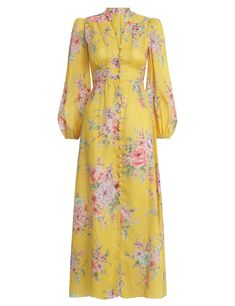 The Zinnia Button Down Long Dress in Golden Floral from our Resort Swim 2020 Collection. A linen maxi dress with fixed waistband and self-covered buttons throughout centre front. linen, maxi dress with buttoned front, fixed waistband and flared skirt, gat Stylish Dresses For Girls, Modest Dresses, Simple Dresses, Pretty Dresses, Beautiful Dresses, Casual Dresses, Awesome Dresses, Muslim Fashion, Hijab Fashion