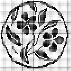 Round 21 | Free chart for cross-stitch, filet crochet | Chart for pattern - Gráfico