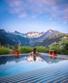 Mountains are the beginning and the end of all natural scenery - John Ruskin.  picture taken by @arkns  #stunning #mountain #pool #designhotel #iloveswitzerland #relax #enjoy #summertime #ig_swiss #flyswiss #bestmountainartists #thecambrianadelboden