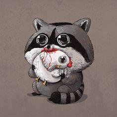 Raccoon & Chicken / Predator & Prey by Alex Solis Arte Grunge, Grunge Art, Cute Animal Illustration, Cute Animal Drawings, Cute Drawings, Raccoon Drawing, Raccoon Art, Predator, Alex Solis