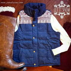 Fall Fashion, Fall Outfit, Winter Fashion, Let It Snow Denim Puffer Vest, Skinny Jeans in Burgundy, Easy Rider Boots in Cognac, Lace-Trimmed Boot Cuffs in Wine, by Jane Divine Boutique www.janedivine.com #janedivine