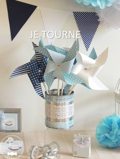 10 moulin vent bleu pastel marine jaune d cor toile communion babyshower and babies. Black Bedroom Furniture Sets. Home Design Ideas